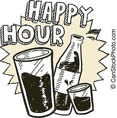 bosquejo, alcohol, hora, feliz