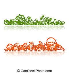 bosquejo, alimento sano, plano de fondo, diseño, su