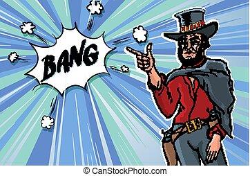 bosquejo, arte, clip, vendimia, cowboy., hombres, ilustración, vector, retro, bang.