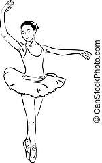 bosquejo, bailarín, pointe, niña, bailando