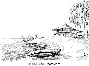 bosquejo, barra, orilla, vector, playa, barco
