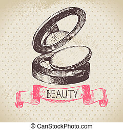 bosquejo, belleza, vendimia, cosmético, ilustración, mano,...