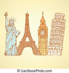 bosquejo, ben, estatua, vendimia, torre, pisa, vector, plano...