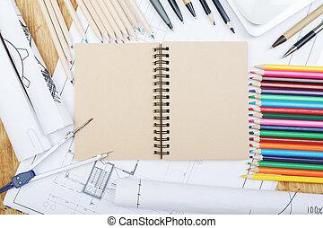 bosquejo, blanco, bloc, cima, escritorio