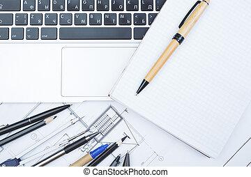 bosquejo, bloc, blanco, escritorio