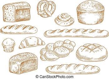 bosquejo, bread, iconos, panadería
