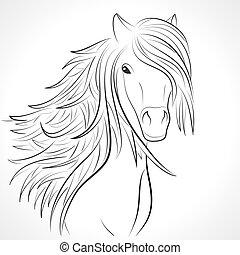bosquejo, caballo, vector, white., cabeza, melena