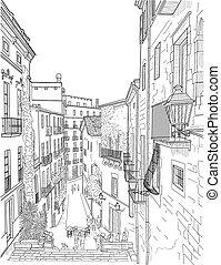 bosquejo, calle de la ciudad