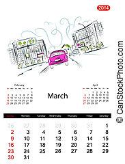 bosquejo, calles, ciudad, march., diseño, calendario, su, ...