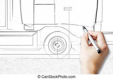 Bosquejo, camión, dibujo, mano