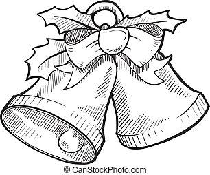bosquejo, campanas de navidad