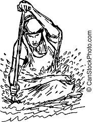 bosquejo, canoa, -, slalom, aislado, ilustración, mano, jugador, líneas, vector, fondo negro, frente, dibujado, blanco, vista