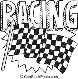 bosquejo, carreras, deportes