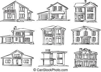 bosquejo, casa de madera, vector