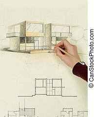 bosquejo, casa, mano mujer, arquitectónico, dibujo