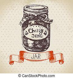 bosquejo, cereza, tarro, mano, rústico, vendimia, dibujado,...