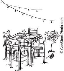 bosquejo, chairs., vector, cafe., tabla, bistro., acogedor, italiano