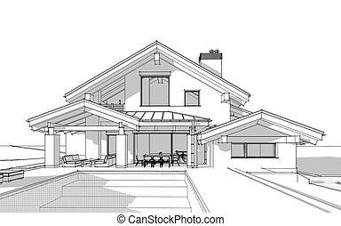 bosquejo, chalet, cómodo, render, casa, moderno, estilo, 3d