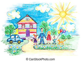bosquejo, childrens, familia , feliz