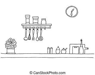 bosquejo, cima, estilo, kitchen., worktop., vector, ilustración, tabla, cocina