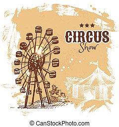bosquejo, circo, ilustración, mano, vector, dibujado, ...