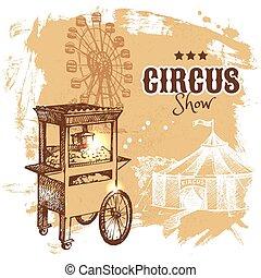 bosquejo, circo, ilustración, mano, vector, dibujado,...