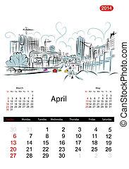bosquejo, ciudad, calles, diseño, april., calendario, su, 2014