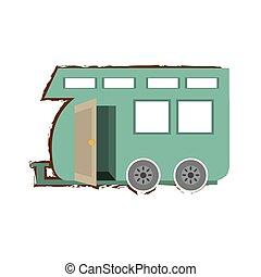 bosquejo, color, caravana, viaje, transporte de camión