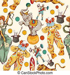 bosquejo, color, garabato, circo, seamless, patrón