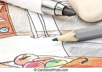 bosquejo, coloreado, trabajando, pintado, mano, interioristas, herramientas, habitación