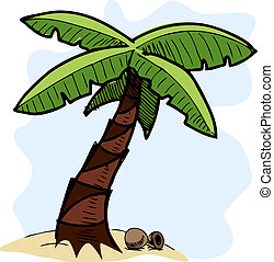 bosquejo, colorido, árbol, ilustración, tropical, palma