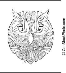 bosquejo, colorido, colorido, owl., adulto, brillante, ...