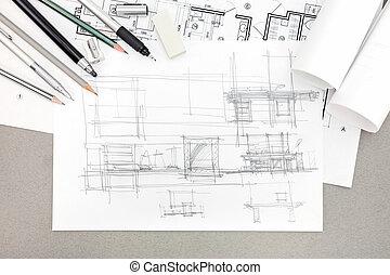 bosquejo, concepto, renovación, arquitectónico, hogar, herramientas, dibujo