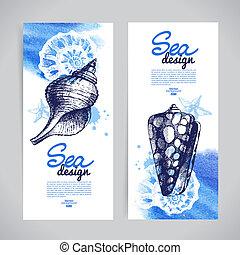 bosquejo, concha marina, mano, banners., mar, náutico,...