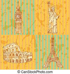 bosquejo, conjunto, ben, coliseum, vendimia, torre, eifel,...