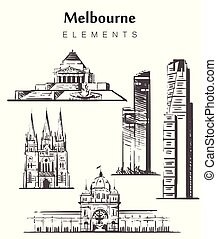 bosquejo, conjunto, edificios., melbourne, hand-drawn,...