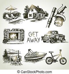 bosquejo, conjunto, familia , vacation., ilustración, mano, vector, dibujado