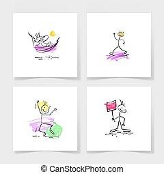 bosquejo, conjunto, figura, garabato, mano, cuatro, palo,...