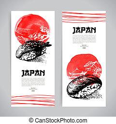 bosquejo, conjunto, menú, sushi, japonés, banners.,...