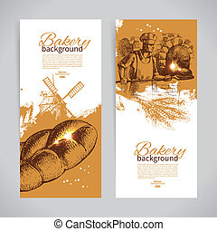 bosquejo, conjunto, vendimia, mano, banners., panadería, ilustraciones, dibujado