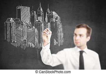 bosquejo, construcción, arquitecto, dibujo