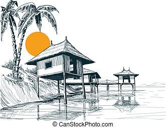 bosquejo, construido, casa, bungalows, agua, o