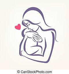 bosquejo, contorneado, símbolo, estilizado, vector, mamá,...