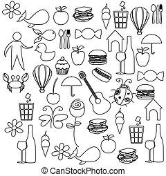 bosquejo, contorno, conjunto, elementos, vida diaria, icono