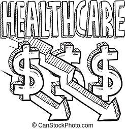 bosquejo, costes, asistencia médica, disminuir