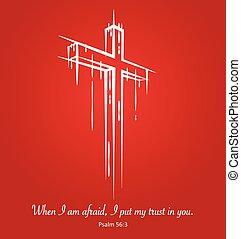 bosquejo, cristo, símbolo, cruz, fondo., salmo, crucifijo, 56:3, rojo