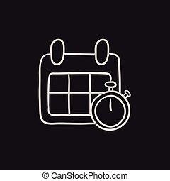 bosquejo, cronómetro, icon., calendario
