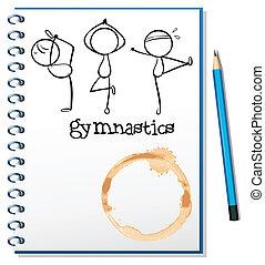 bosquejo, cuaderno, tres, gimnastas