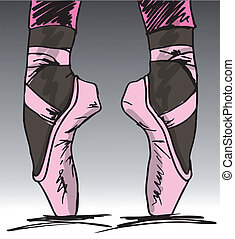 bosquejo, dancer's, ballet, ilustración, vector, feet.