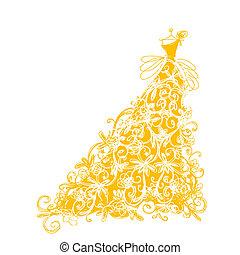 bosquejo, de, dorado, vestido, con, floral, ornamento, para, su, diseño